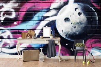 3d brick abstract planet graffiti wall mural wallpaper 211 Preminum Non-Woven Paper-W: 210cm X H: 146cm