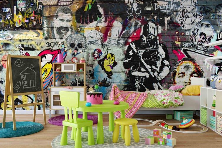 3d abstract retro character graffiti wall mural wallpaper 207 Preminum Non-Woven Paper-W: 210cm X H: 146cm