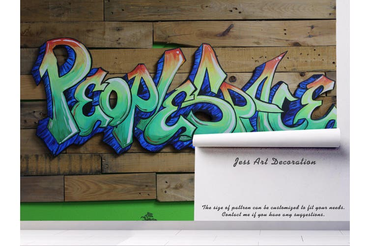 3d wooden floor slogan graffiti wall mural wallpaper 203 Preminum Non-Woven Paper-W: 320cm X H: 225cm