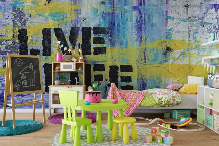 3d colorful mottled wall slogan graffiti wall mural wallpaper 201 Preminum Non-Woven Paper-W: 210cm X H: 146cm