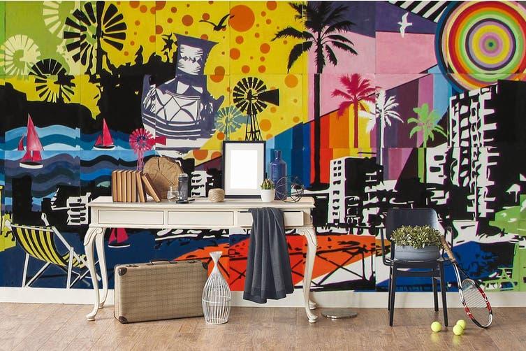3d city night view graffiti wall mural wallpaper 196 Preminum Non-Woven Paper-W: 320cm X H: 225cm