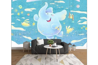 3D Cartoon Blue Elephant Wall Mural Wallpaper 140 Preminum Non-Woven Paper - W: 210cm X H: 146cm