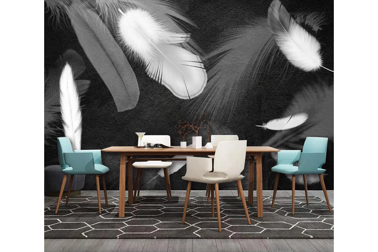 3D Black White Feathers Wall Mural Wallpaper 181 Preminum Non-Woven Paper - W: 210cm X H: 146cm