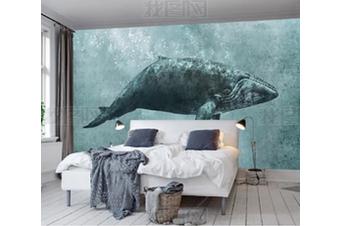 3D Hand Painted Whale Wall Mural Wallpaper 127 Preminum Non-Woven Paper - W: 210cm X H: 146cm