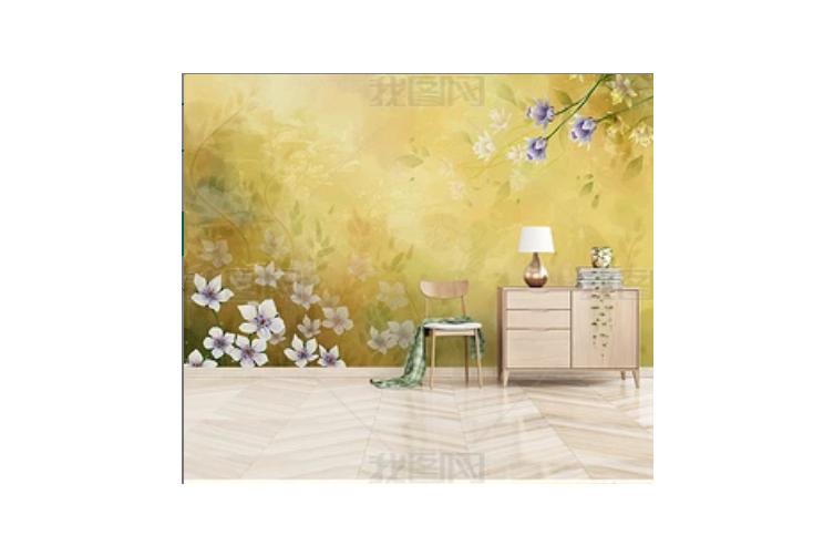 3D Watercolor Yellow Floral Wall Mural Wallpaper 126 Preminum Non-Woven Paper - W: 320cm X H: 225cm
