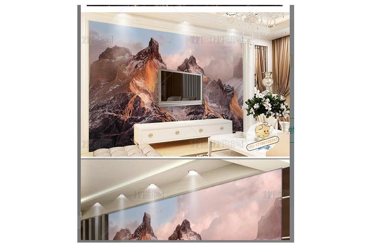 3D Nordic Style Mountain Wall Mural Wallpaper 406 Preminum Non-Woven Paper - W: 525cm X H: 295cm