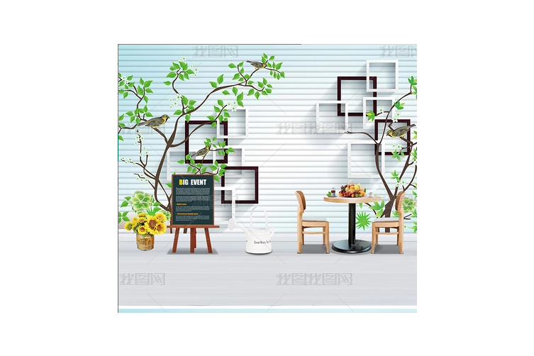 3D Branch Square Stripes Wall Mural Wallpaper 469 Preminum Non-Woven Paper - W: 210cm X H: 146cm