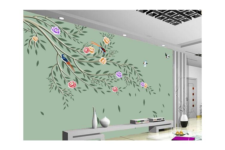 3D Hand Painting Floral Birds Wall Mural Wallpaper 167 Preminum Non-Woven Paper - W: 420cm X H: 260cm