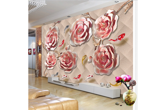 3D Pink Floral Red Carp Wall Mural Wallpaper 162 Preminum Non-Woven Paper - W: 320cm X H: 225cm