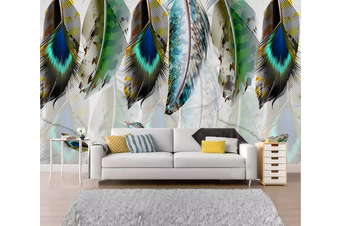 3D Watercolor Green Feathers Wall Mural Wallpaper 160 Preminum Non-Woven Paper - W: 320cm X H: 225cm