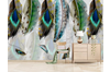 3D Watercolor Green Feathers Wall Mural Wallpaper 160 Preminum Non-Woven Paper - W: 525cm X H: 295cm