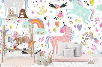 3D Color Cartoon Unicorn Wall Mural Wallpaper 13 Self-adhesive Laminated Vinyl