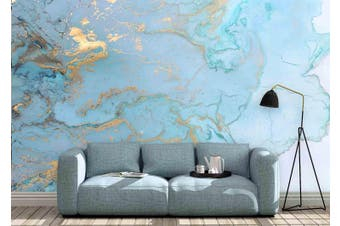 3D Blue Golden Watercolor Wall Mural Wallpaper 22 Self-adhesive Laminated Vinyl