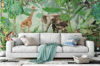 3D Elephant Giraffe Jungle Wall Mural Wallpaper 07 Self-adhesive Laminated Vinyl