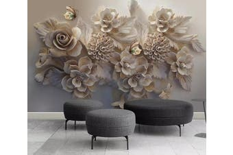 3D Embossed Gypsum Floral Butterfly Wall Mural 241 Self-adhesive Laminated Vinyl
