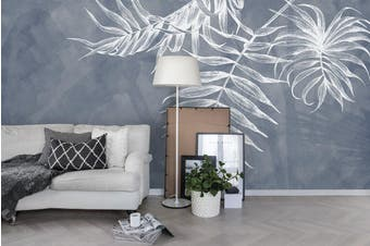 3D Grey Freehand White Leaves Wall Mural Wallpaper 10 Self-adhesive Laminated Vinyl