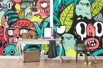 3D Abstract Monster Wall Mural Wallpaper B30 Self-adhesive Laminated Vinyl-W: 210cm X H: 146cm