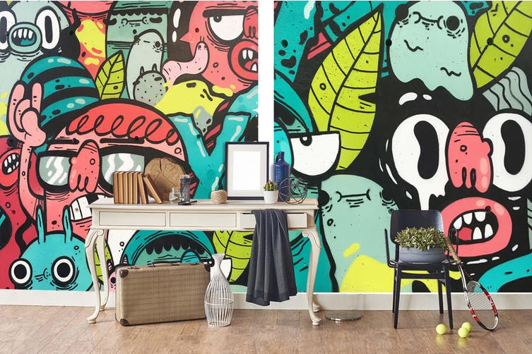3D Abstract Monster Wall Mural Wallpaper B30 Self-adhesive Laminated Vinyl-W: 320cm X H: 225cm