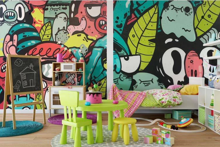 3D Abstract Monster Wall Mural Wallpaper B30 Self-adhesive Laminated Vinyl-W: 525cm X H: 295cm