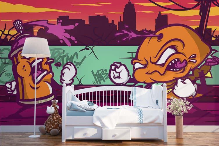 3D Orange Abstract Monster Wall Mural Wallpaper B29 Self-adhesive Laminated Vinyl-W: 210cm X H: 146cm