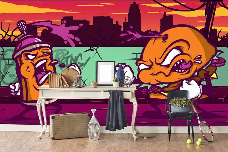 3D Orange Abstract Monster Wall Mural Wallpaper B29 Self-adhesive Laminated Vinyl-W: 420cm X H: 260cm