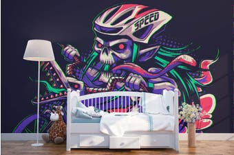 3D Skull Motorcycle Race Wall Mural Wallpaper B24 Self-adhesive Laminated Vinyl-W: 210cm X H: 146cm