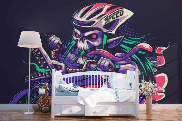 3D Skull Motorcycle Race Wall Mural Wallpaper B24 Self-adhesive Laminated Vinyl-W: 320cm X H: 225cm