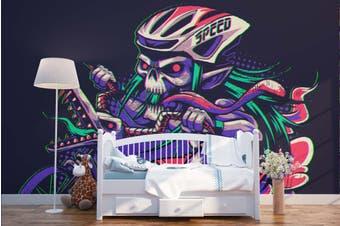 3D Skull Motorcycle Race Wall Mural Wallpaper B24 Self-adhesive Laminated Vinyl-W: 420cm X H: 260cm