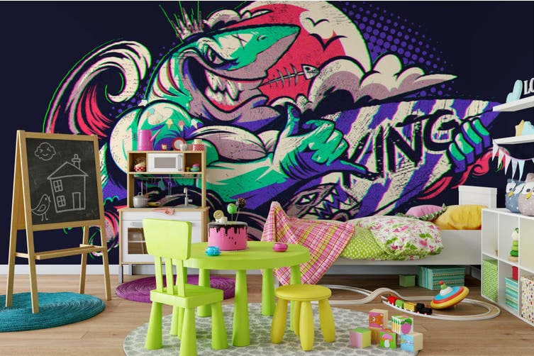 3D Abstract Shark Monster Wall Mural Wallpaper B21 Self-adhesive Laminated Vinyl-W: 420cm X H: 260cm