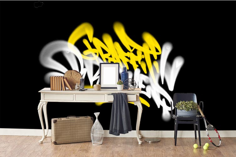 3D Yellow White Logo Black Background Wall Mural Wallpaper B20 Self-adhesive Laminated Vinyl-W: 210cm X H: 146cm