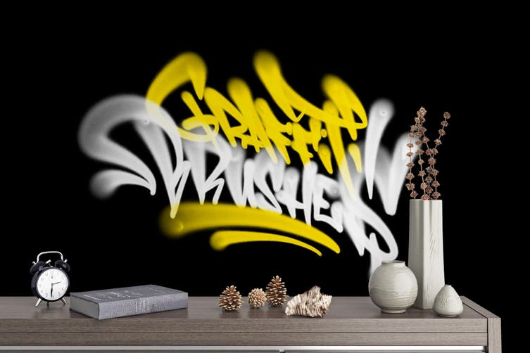 3D Yellow White Logo Black Background Wall Mural Wallpaper B20 Self-adhesive Laminated Vinyl-W: 320cm X H: 225cm