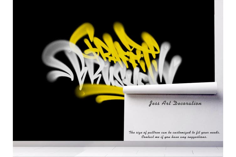 3D Yellow White Logo Black Background Wall Mural Wallpaper B20 Self-adhesive Laminated Vinyl-W: 420cm X H: 260cm