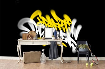3D Yellow White Logo Black Background Wall Mural Wallpaper B20 Self-adhesive Laminated Vinyl-W: 525cm X H: 295cm