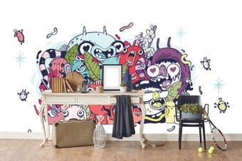 3D Colorful Monster Graffiti Wall Mural Wallpaper B19 Self-adhesive Laminated Vinyl-W: 320cm X H: 225cm