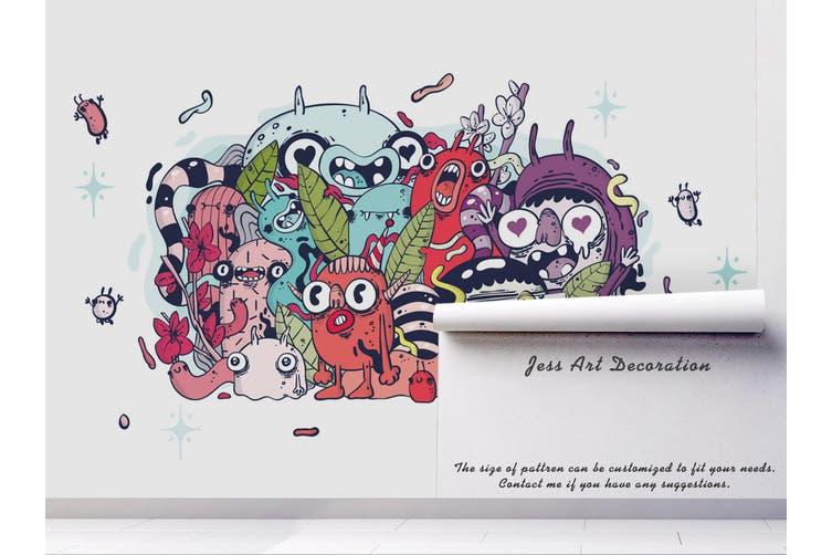 3D Colorful Monster Graffiti Wall Mural Wallpaper B19 Self-adhesive Laminated Vinyl-W: 420cm X H: 260cm