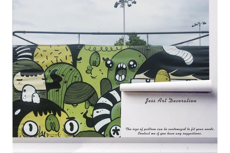 3D Green Monster Graffiti Wall Mural Wallpaper B18 Self-adhesive Laminated Vinyl-W: 210cm X H: 146cm