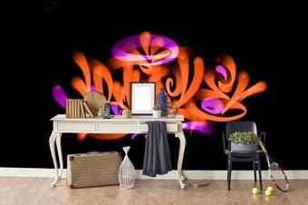 3D Orange Logo Black Background Wall Mural Wallpaper B17 Self-adhesive Laminated Vinyl-W: 210cm X H: 146cm