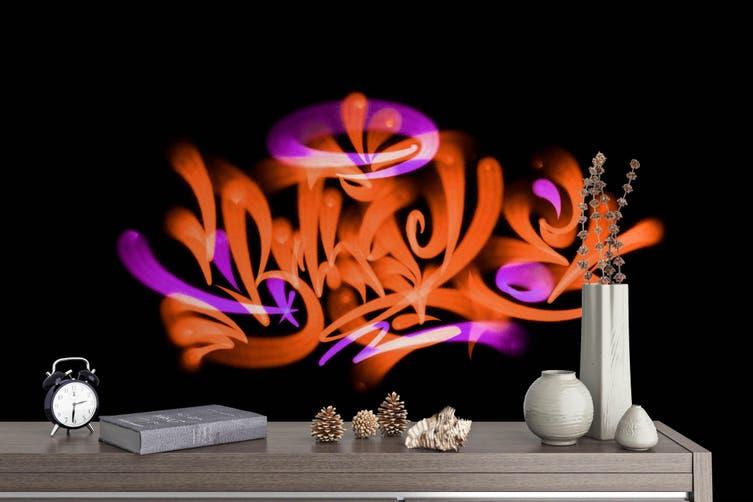 3D Orange Logo Black Background Wall Mural Wallpaper B17 Self-adhesive Laminated Vinyl-W: 420cm X H: 260cm