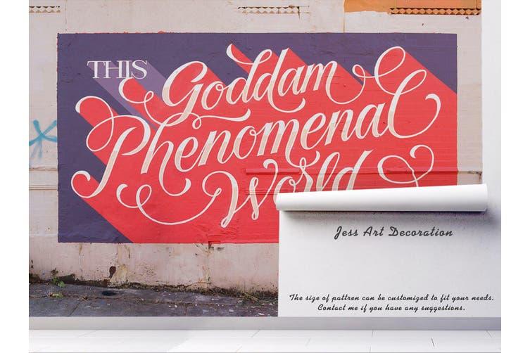 3D Pink Slogan Purple Background Wall Mural Wallpaper B16 Self-adhesive Laminated Vinyl-W: 210cm X H: 146cm