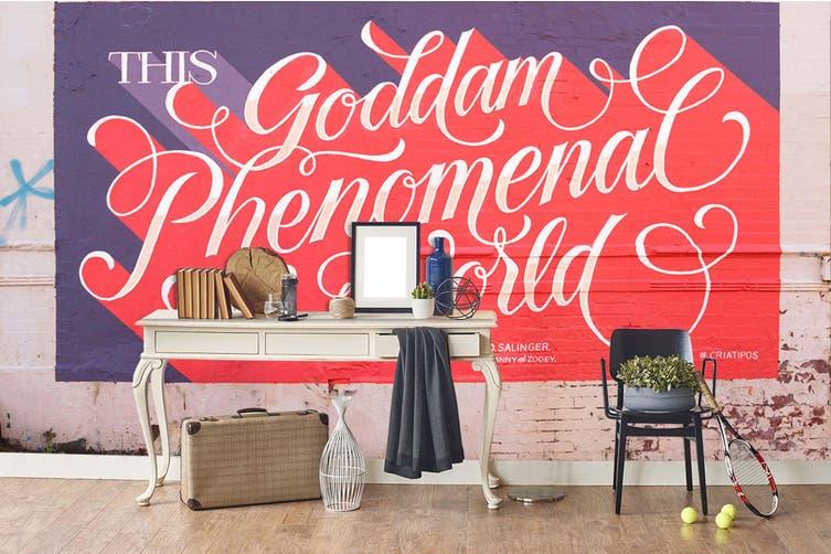 3D Pink Slogan Purple Background Wall Mural Wallpaper B16 Self-adhesive Laminated Vinyl-W: 525cm X H: 295cm