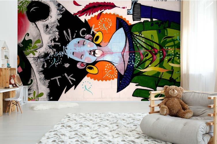 3D Abstract Bird Graffiti Wall Mural Wallpaper B15 Self-adhesive Laminated Vinyl-W: 320cm X H: 225cm