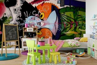 3D Abstract Bird Graffiti Wall Mural Wallpaper B15 Self-adhesive Laminated Vinyl-W: 525cm X H: 295cm