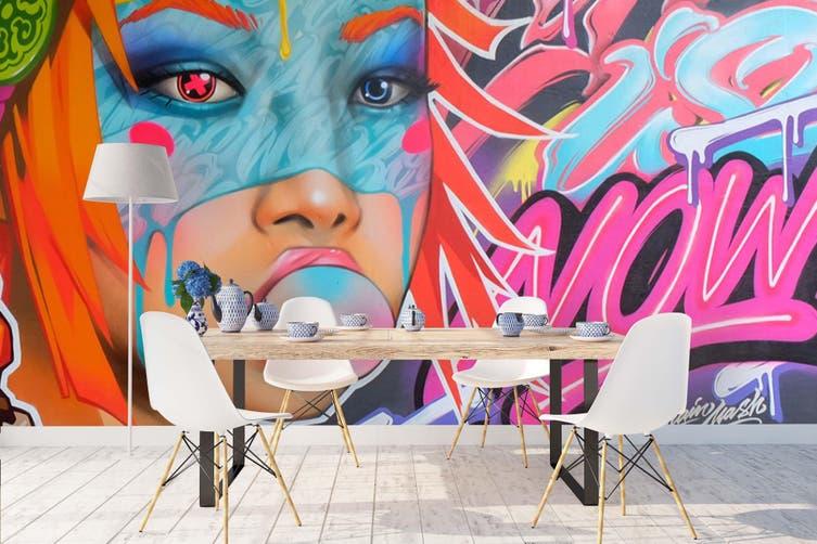 3D Gum Girl Graffiti Wall Mural Wallpaper B14 Self-adhesive Laminated Vinyl-W: 210cm X H: 146cm