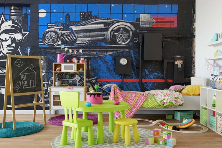 3D Blue Garage Wall Mural Wallpaper B12 Self-adhesive Laminated Vinyl-W: 320cm X H: 225cm