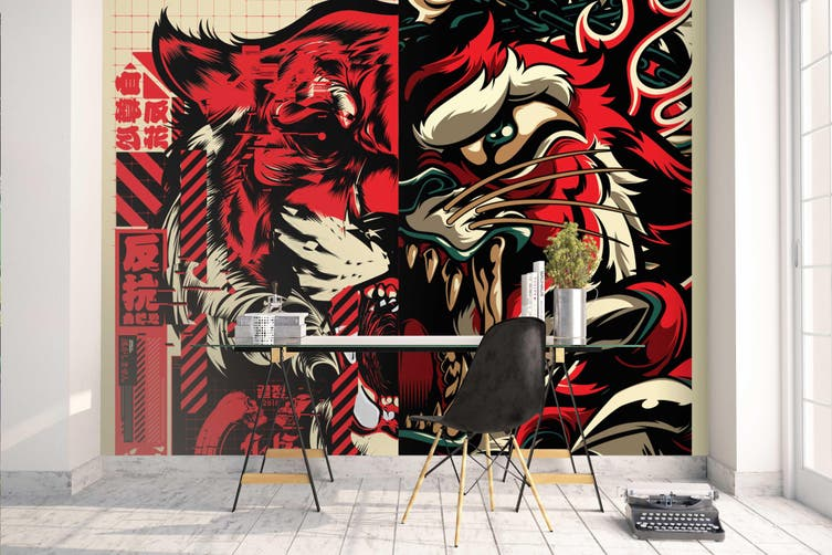 3D Red Abstract Monster Wall Mural Wallpaper B11 Self-adhesive Laminated Vinyl-W: 320cm X H: 225cm
