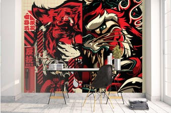 3D Red Abstract Monster Wall Mural Wallpaper B11 Self-adhesive Laminated Vinyl-W: 525cm X H: 295cm