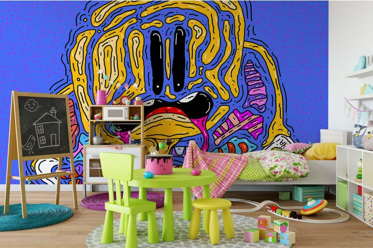 3D Abstract Line Draw Monster Wall Mural Wallpaper B10 Self-adhesive Laminated Vinyl-W: 525cm X H: 295cm