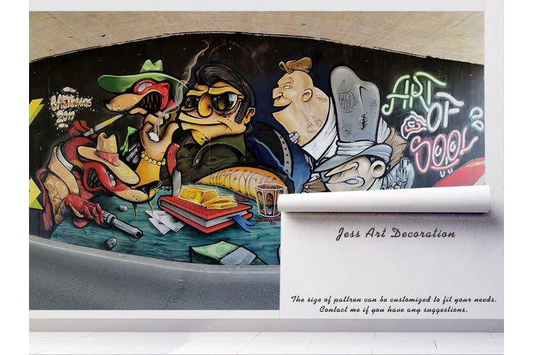 3D Cartoon Abstract Monster Wall Mural Wallpaper B09 Self-adhesive Laminated Vinyl-W: 210cm X H: 146cm