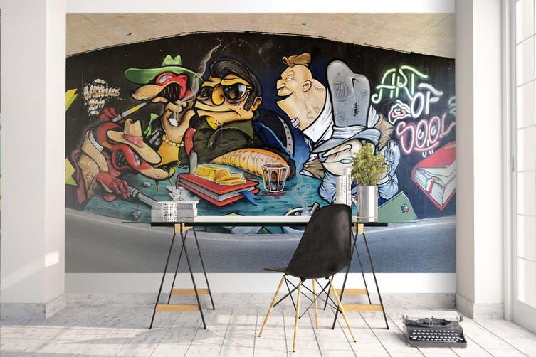 3D Cartoon Abstract Monster Wall Mural Wallpaper B09 Self-adhesive Laminated Vinyl-W: 420cm X H: 260cm