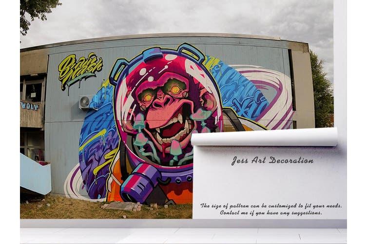 3D Monkey Astronaut Wall Mural Wallpaper B07 Self-adhesive Laminated Vinyl-W: 210cm X H: 146cm